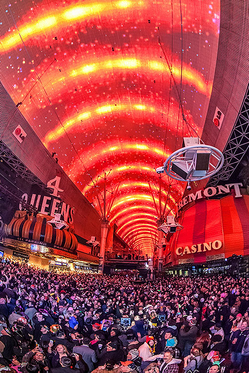 Viva Vision light show and Fremont Street crowd